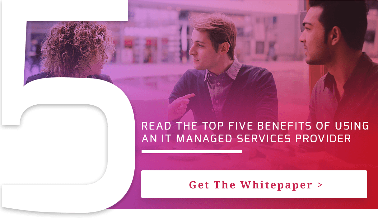 button to download a list of the top 5 benefits of an IT managed services provider laid over an image of 3 people talking