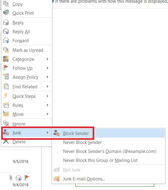 Block Junk Email
